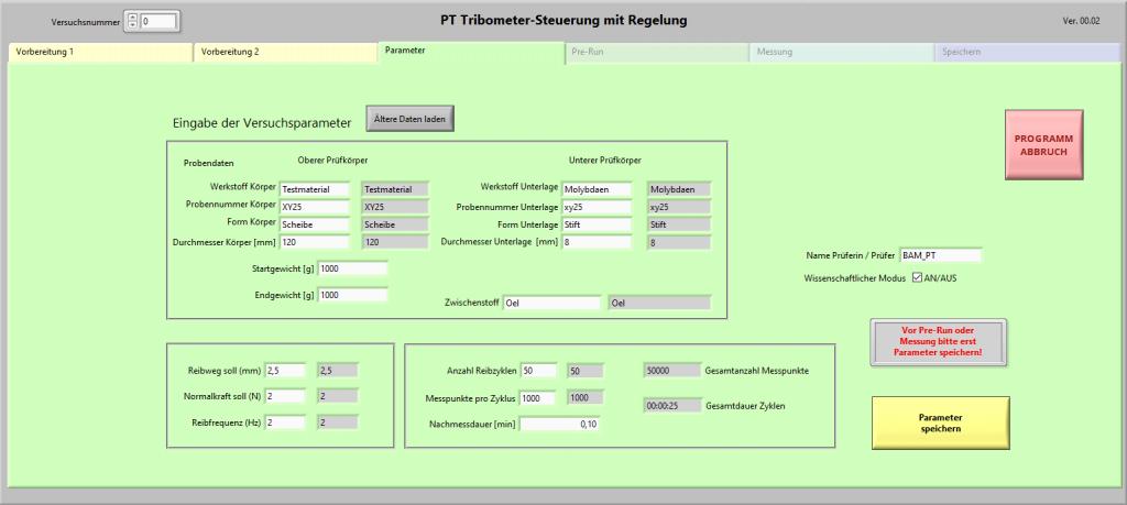 Tribometer Steuerung LabView Parameter